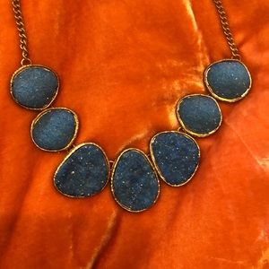 Faux Drusy Necklace in Blue